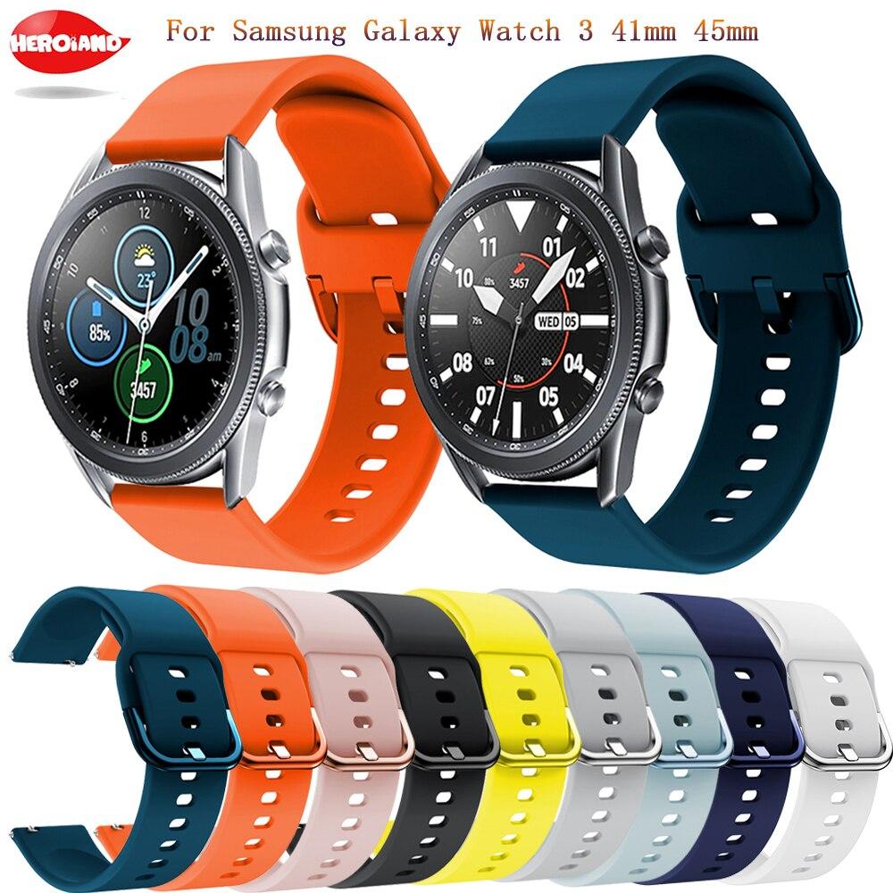 Fashion Sport 20mm/22mm Silicone Wrist Band For Samsung Galaxy Watch 3 45mm 41mm smartwatch band Bracelet Accessories wriststrap