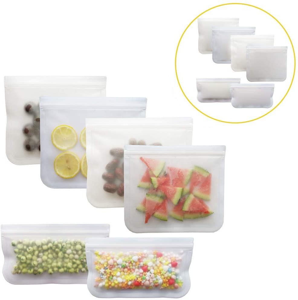 6 unids/set translúcido helado bolsa de conservación de alimentos-PEVA Eefrigerator bolsas de almacenamiento-(21.5X18cmX4PC, 21.5X12cmX2PC)