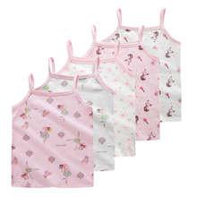 Nastolatek dziewczyny Camisole podkoszulek bielizna Tank śliczne księżniczka podkoszulki bawełniany Tank bluzki z nadrukiem w kwiaty dla dzieci odzież 2-10 Y