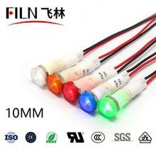 FILN 10mm 12v 24v 220v 110v rouge témoin lumineux avec différentes longueurs pour chaudière à eau