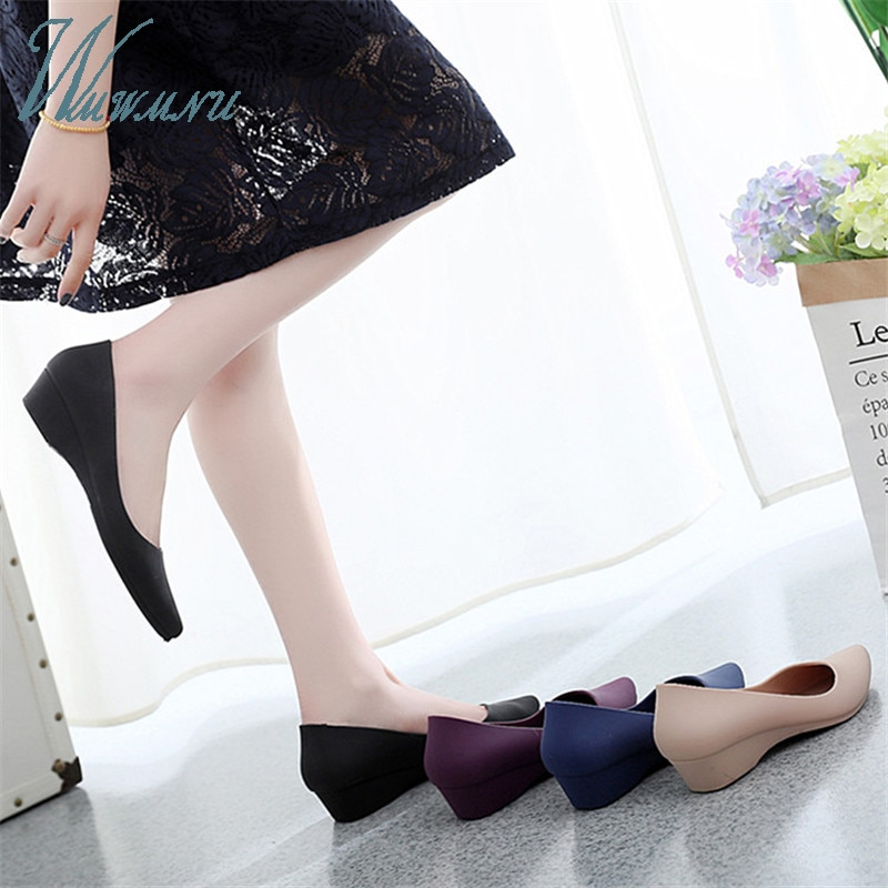 Travail décontracté femmes basique couleur bonbon talons nus dame bureau pompes noir confortable nouveau large talons bas bloc chaussures bleu Zapatos