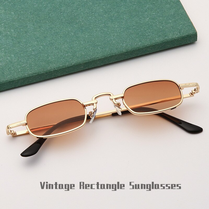 Retro Small Rectangle Unisex Sunglasses For Men Boys Unique Alloy Frame Individual Decorative Sun Gl