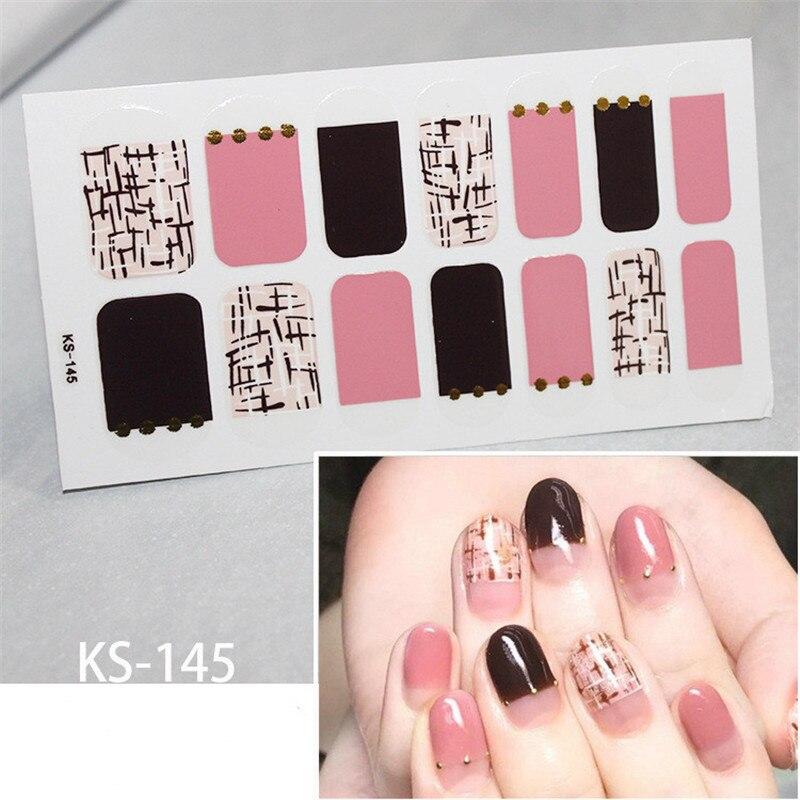 14tips/sheet Full Cover Wraps Nail Polish Stickers Strips Plain Nail Art Decorations Heart Designs Glitter Powder Manicure Tips