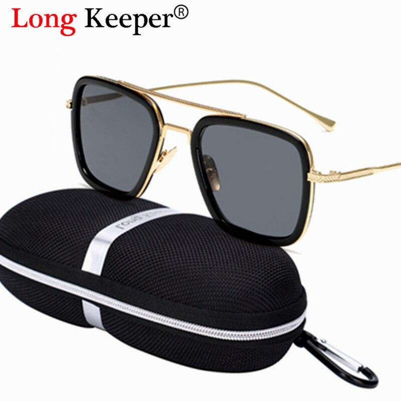 Gafas de sol de diseño de marca para hombre estilo vuelo Tony Stark con gafas de sol Retro Para hombre de hierro caso