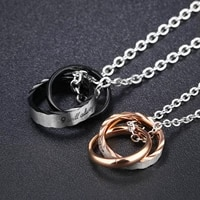 two ring interlocking titanium steel couple necklace men and women jewelry small gifts lovers pendant necklaces