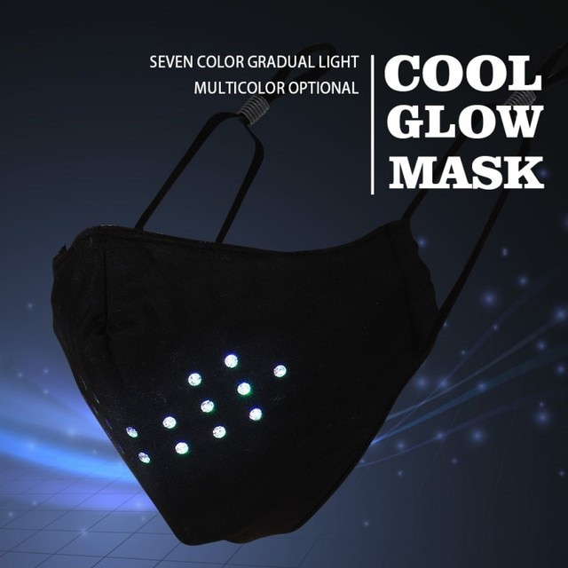 Rave Party Supplies Voice Control Mask Dynamic Talking Faux Face Mask Breathable Adjustable Rubber Elastic Ear Loop 4