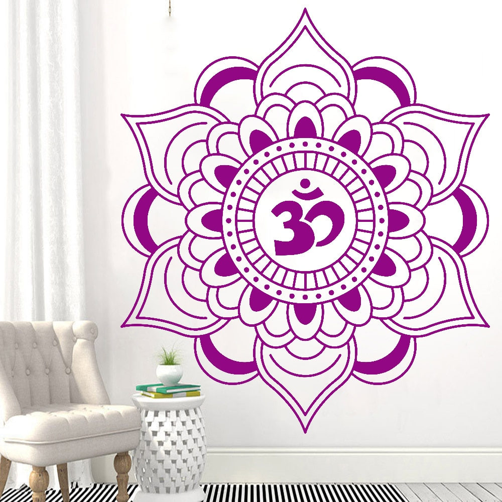 Hinduismus Wand Aufkleber Mandala Lotus Talisman Buddhismus Vinyl Wand Aufkleber Kindergarten Kinder Schlafzimmer Tür Wand Dekoration Z604
