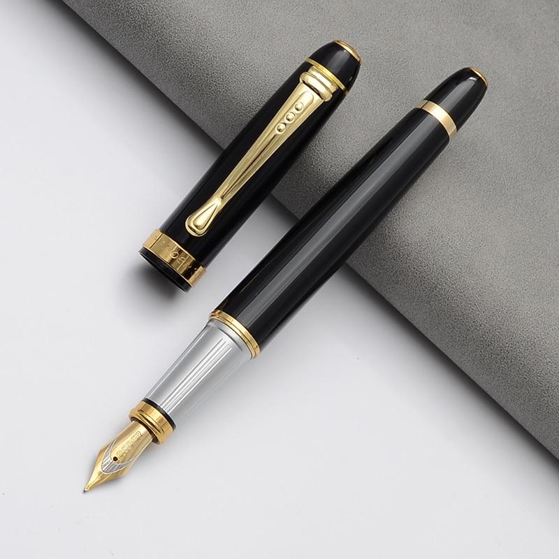 BAOER pluma De tinta negra Dolma Kalem Caneta Tinteiro Pena Plumas Estilográficas...