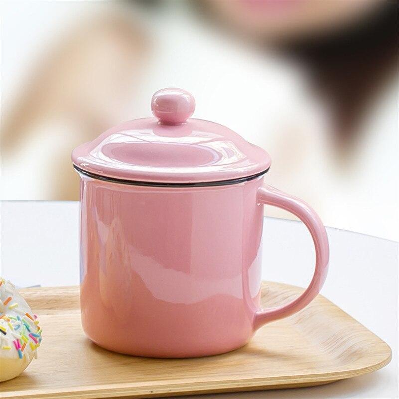 Taza de café de esmalte Vintage minimalista creativa con tapa, Taza de leche de cerámica, taza de té pigmentada para el hogar, taza de agua para oficina