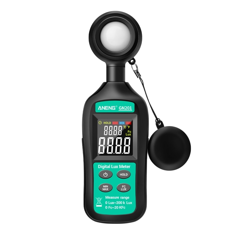 Luxmeter ، رقمي ، محمول ، ضوء ، 200K لوكس ، مقياس الضوء ، الأشعة فوق البنفسجية ، مقياس الإشعاع ، GN201