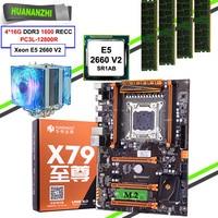 HUANANZHI X79 Deluxe Gaming Motherboard with HI-SPEED M.2 NVMe SSD Slot CPU Xeon E5 2660 V2 Big Brand RAM 64G(4*16G) REG ECC