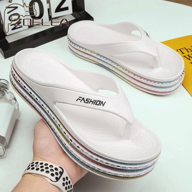 Shoes Woman Summer Open Toe Wedges Home Slippers Women Beach Walk Shoes Sandals Woman Flip Flops Indoor Home Platform Slippers
