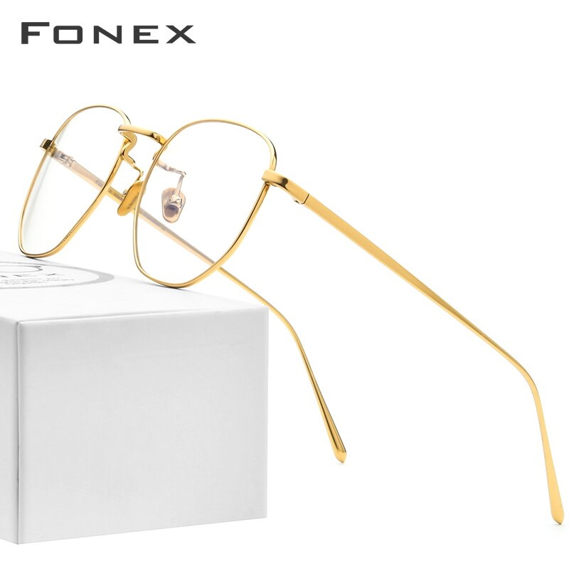 FONEX Pure Titanium Glasses Frame Men Myopia Optical Prescription Oversize Eyeglasses Frame Women New Gold Polygon Eyewear 8518