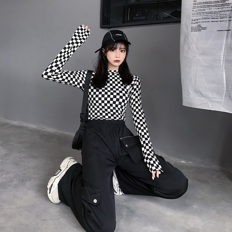 2020 otoño mujeres de manga larga Camiseta ajustada a cuadros Casual Slim Tops Bottoming camisa Streetwear Harajuku estilo Bts envío gratis