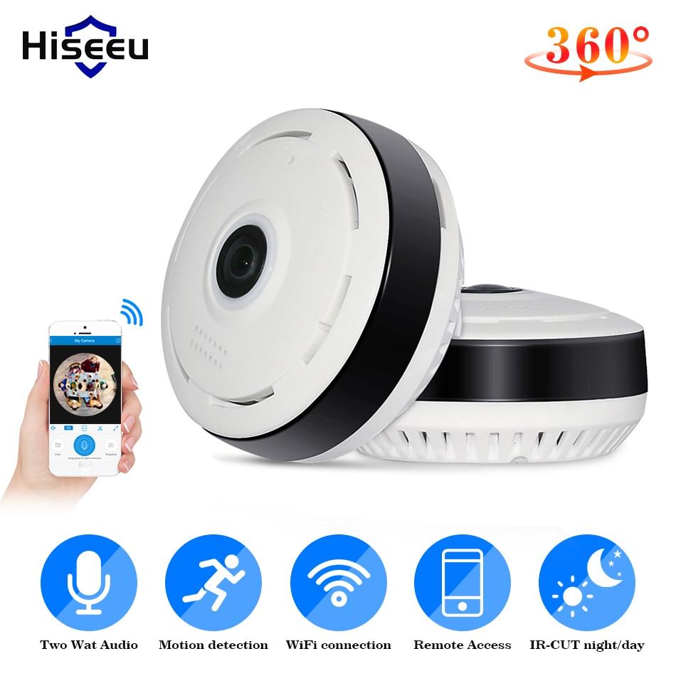 Hiseeu 960P ثلاثية الأبعاد VR واي فاي فيش IP كاميرا 360 درجة عرض كامل كاميرا تلفزيونات الدوائر المغلقة 1.3MP شبكة كاميرا مراقبة للمنزل بانورامية