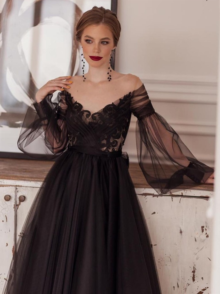 Vintage Gothic Black Wedding Dresses Ankle Length Long Puffy Sleeves Appliques Lace Tulle Short Bridal Gowns robe de mariee