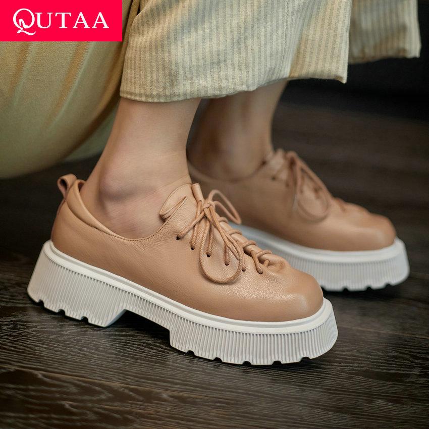 QUTAA-حذاء نسائي برباط من الجلد الطبيعي ، حذاء بكعب عالٍ بمقدمة مربعة ، عصري ، موسم الربيع والخريف ، المقاسات من 34 إلى 39 ، 2021