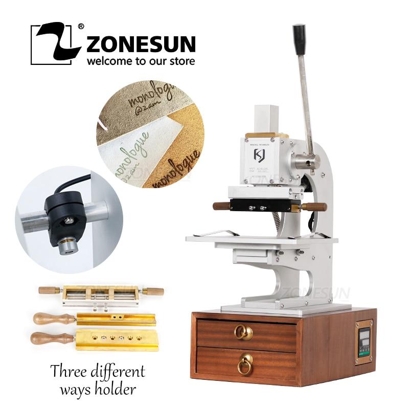 ZONESUN New Manual Heat Press Machine Digital PVC Card Book Leather Paper Wood Custom Logo Embossing Hot Foil Stamping Machine