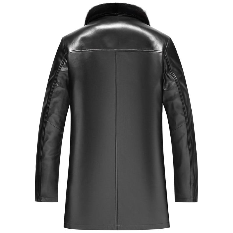 Chaqueta de invierno para hombre, abrigo de pelo auténtico de oveja de piel de visón Oro Natural para hombre, chaquetas cálidas de talla grande LSY099492 MY2759