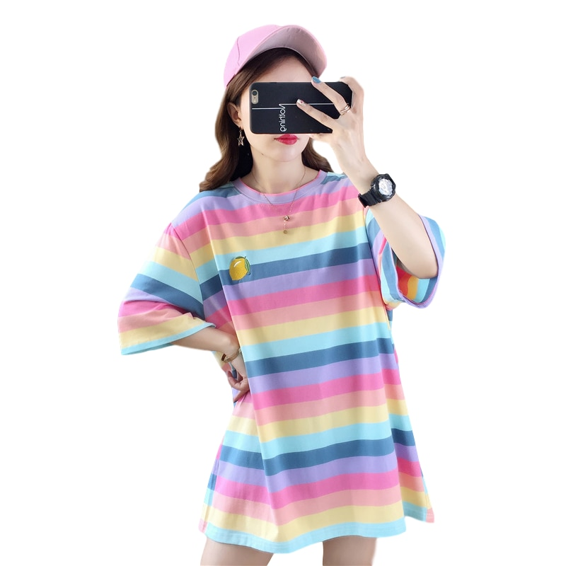 Korean Kpop Casual Tops T Shirt Oversized Women Cotton Rainbow Stripes Fruits Embroidery Tshirts Harajuku Fashion Streetwear