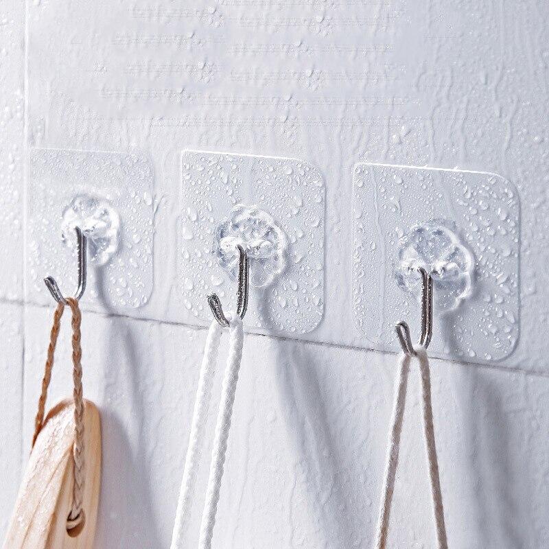 10 шт., прозрачные настенные крючки-вешалки на присоске