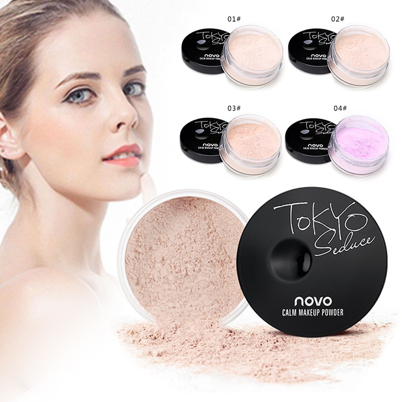 NOVO-polvo suelto liso, maquillaje transparente, Control de aceite, resistente al agua, para ajuste de acabado facial TSLM1