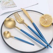 Acciaio inox Posate Coltello Forchetta Cucchiaio Set Blu Oro Posate Set Matte Piatti E Posateria Set 18/10 In Acciaio Inox Argenteria
