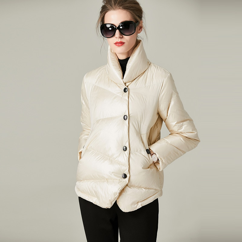 Women down coats luxury autumn winter warm fashion 90% white duck down Jackets Female lady white top puffer hooded casual