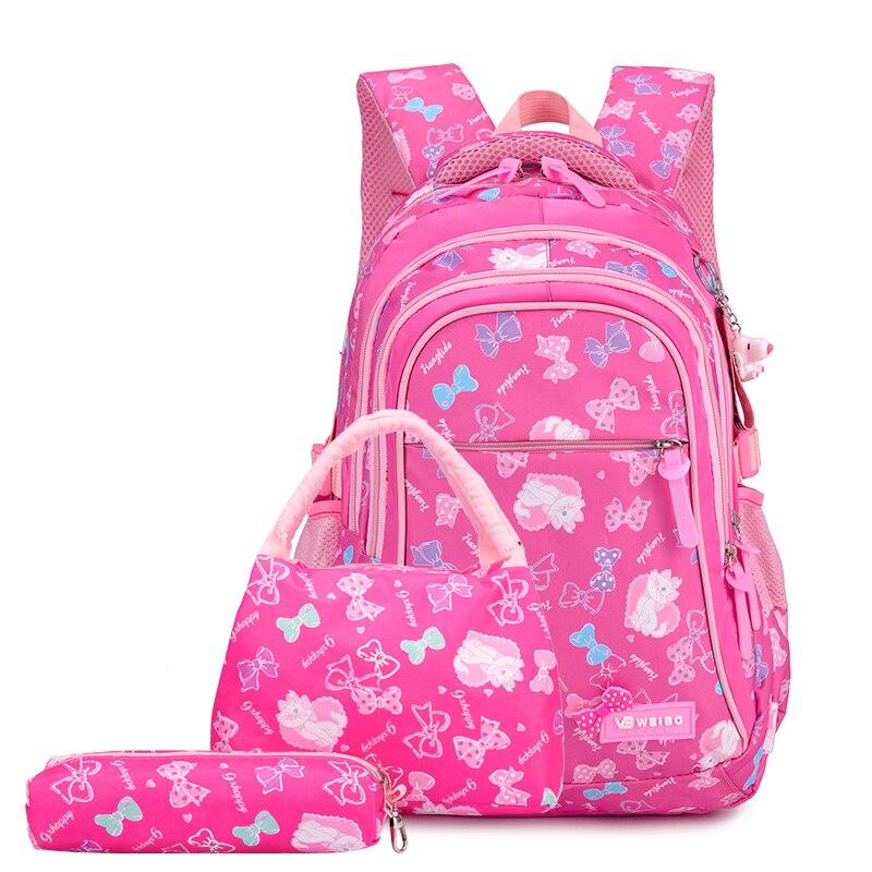 3Pcs Per Set Pink Bow Print Girl School Backpack Large Capacity Nylon Waterproof School Bags for Gir