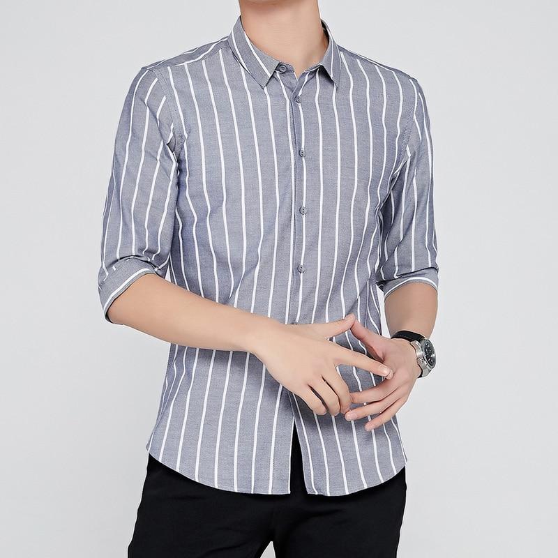 Новинка, Лидер продаж, Весенняя Повседневная рубашка, теплые полосатые рубашки с коротким рукавом, плотные бархатные мужские брендовые кла...