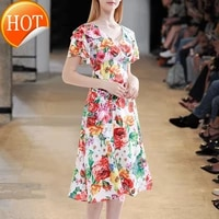 2021 summer new womens v neck temperament layer upon layer ruffle sleeve slim floral dress