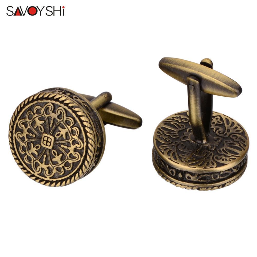 SAVOYSHI High Quality Shirt Cufflinks for Men Round Bronze Vintage Pattern Metal Cuff links Gift Free Enagraving Name