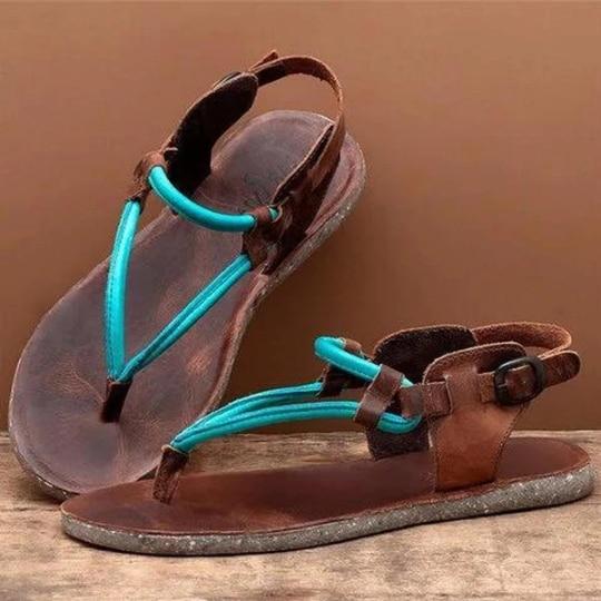 ¡Novedad de 2020! Sandalias planas para mujer, zapatos sexis de mujer con tiras cruzadas, sandalias de verano para playa romana con correa en el tobillo, chanclas de talla grande 42 43