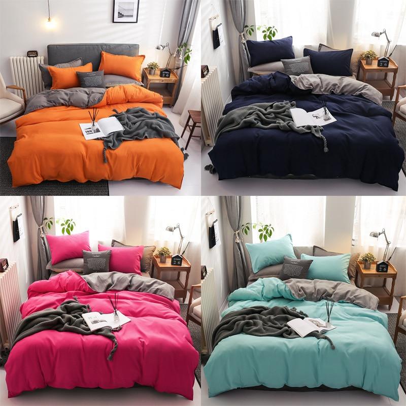المنسوجات المنزلية سماوي لون نقي حاف الغطاء كيس وسادة غطاء سرير صبي طفل في سن المراهقة فتاة الفراش البياضات مجموعة الملك الملكة التوأم