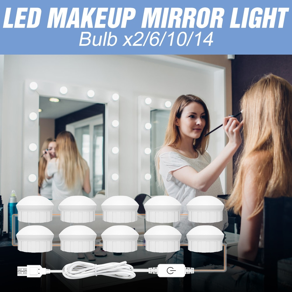 LED Mirror Light 3 Colors 2 6 10 14 Bulbs USB 12V Wall Lamp Dimmable Bulb LED Vanity Cosmetic Light Dressing Room Hollywood Bulb