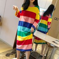 Ladies Rainbow Striped Loose Long Nightdress Home O Collar Long-sleeved Nightdress New Arrived