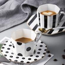 Estilo britânico 9 polegada octogonal placa cerâmica preto branco dot tarja utensílios de mesa pratos chá da tarde conjunto cozinha casa