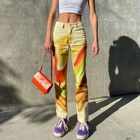 2021 womens casual pants summer fashion personality color contrasting high waist loose straight pants cropped pants