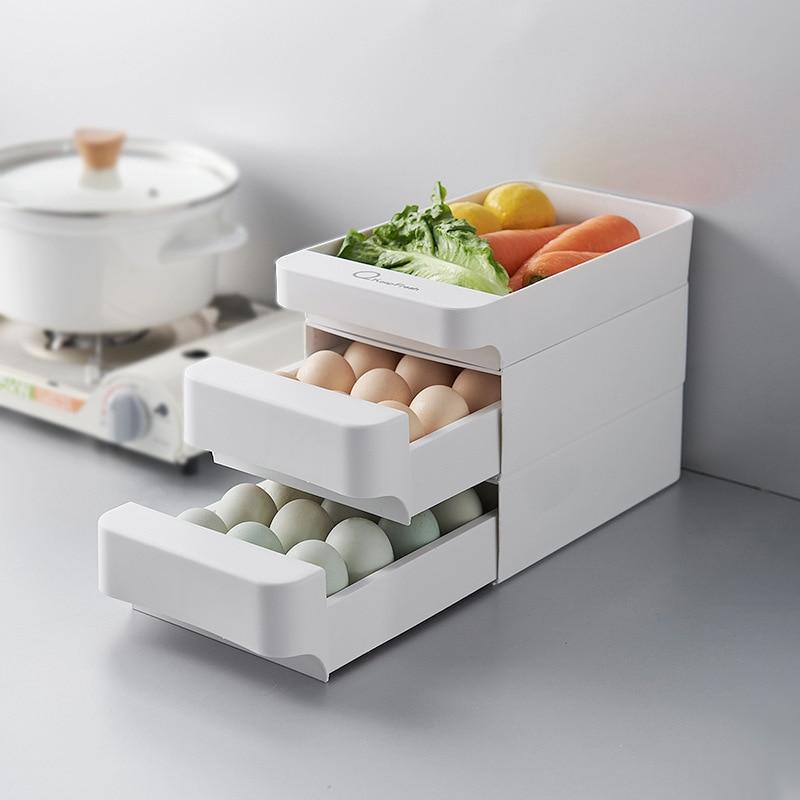 AliExpress - 3 Layers Kitchen Stackable Egg Storage Drawer Fridge Food Organizer Box Pull Open Kitchen Accessories Plastic Storage Box