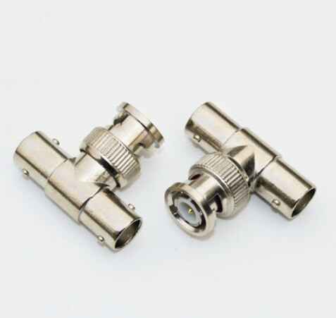 5PCS BNC Male To 2 Female T Type Connector Adapter For CCTV Surveillance System adaptor