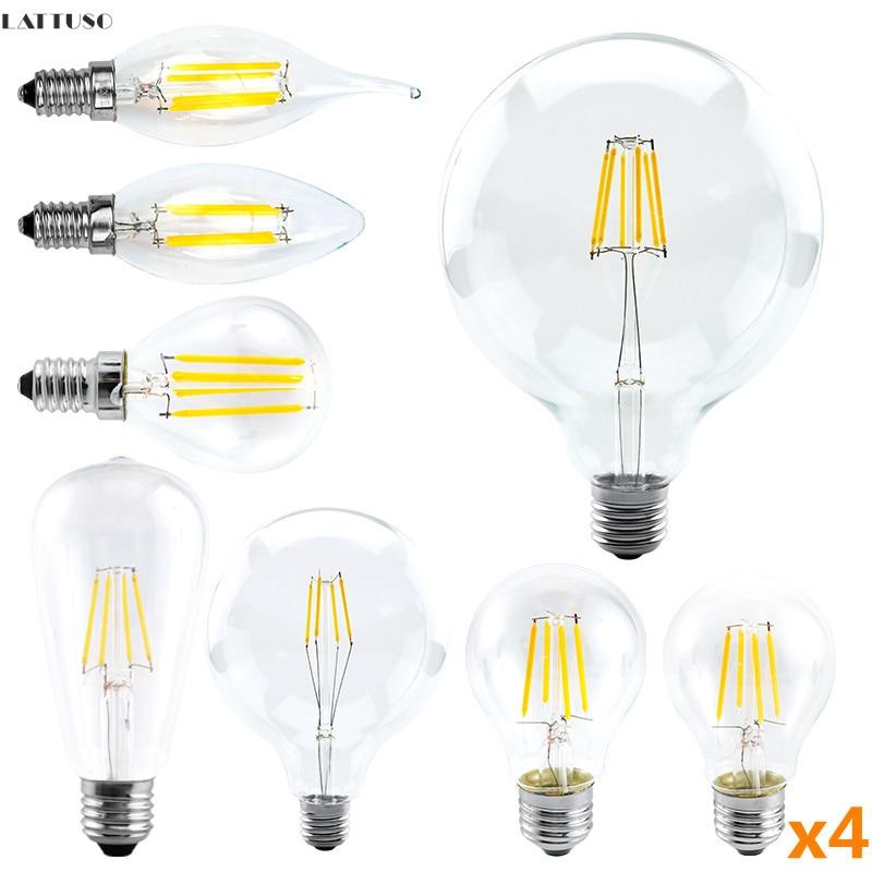 4 unids/lote bombilla LED 220V C35 A60 G80 G95 G125 lámpara LED...