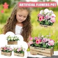 Simulation de Pot de fleurs artificielles  plantes decoratives pour salon  fausse fleur de paysage  pour la maison  pour la fete des meres