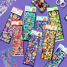 2 Pcs Cute Lovely Ins Korean Bear Stickers Decorative Adhesive Sticker Tape Kids Craft Scrapbooking Sticker Set for Diary Album