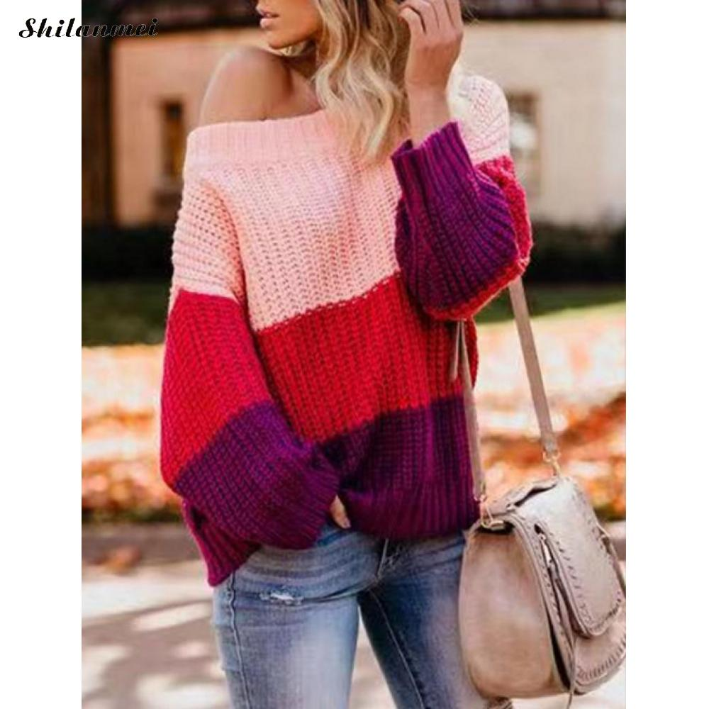 Sexy Autumn Off Shoulder Sweater Women Patchwork Color Block Striped Loose Knit Sweaters Long Sleeve Female Pullover Jumper New drop shoulder open knit jumper