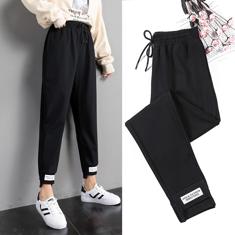 2021 New Sportswear Women's Lettered Ankles Spring and Autumn  Guard Pants Corset Harem High Waist Loose Casual  D025
