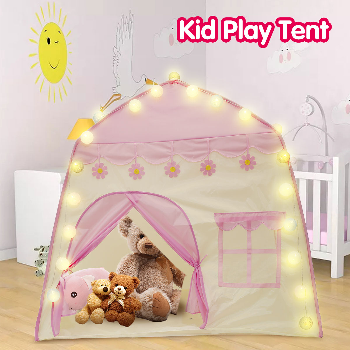 1.3M Portable Children's Tent Wigwam Folding Kids Tents Tipi Baby Play House Large Girls Pink Princess Castle Child Room Decor