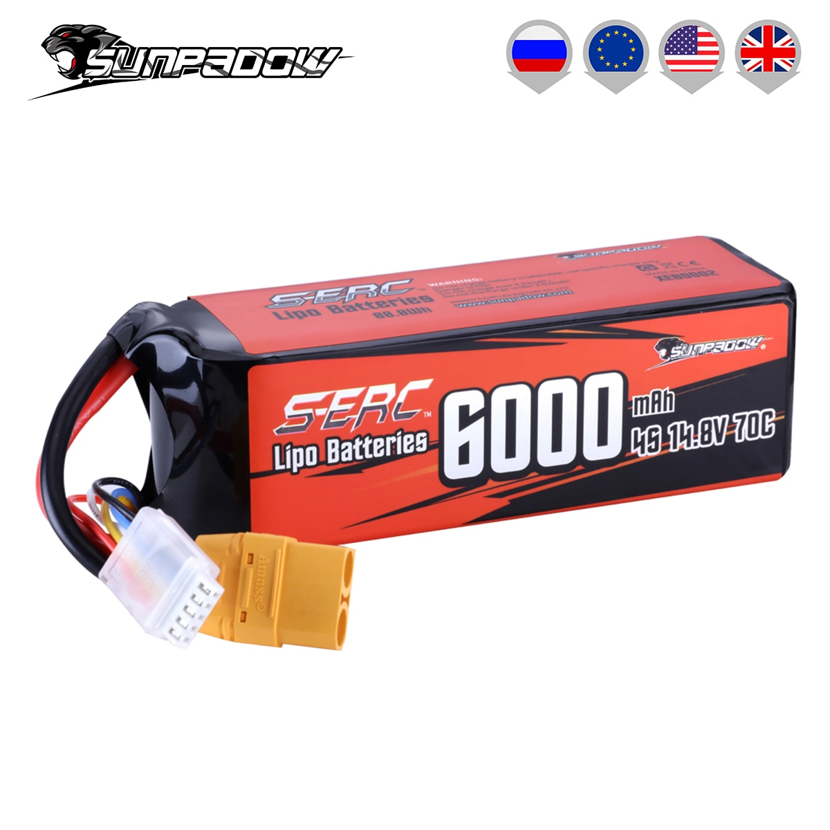 SUNPADOW 4S Lipo Battery 14.8V 6000mAh 70C Soft Pack with XT90 Connector for RC Buggy Truggy Vehicle