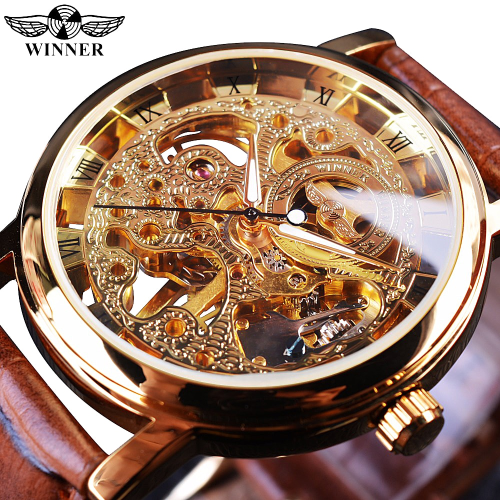 Winner Transparent Golden Case Luxury Casual Design Brown Leather Strap Mens Watches Top Brand Luxur