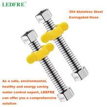 LEDFRE-tuyau chauffe-eau en acier inoxydable   F1/2/F3/4/F1 304, tuyau de plomberie et de salle de bain à connecteur ondulé, 10cm -500cm de longueur