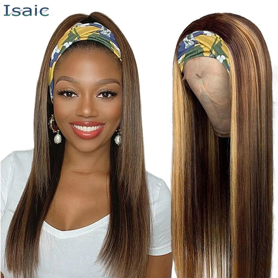 Isaic Long Straight Synthetic Headband Wig Blonde Highlight Wigs for Women 20 Inch Headband Wigs for Daily Party Use